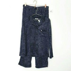 Nicole Miller Fleece Pajama Set L Gray NWT